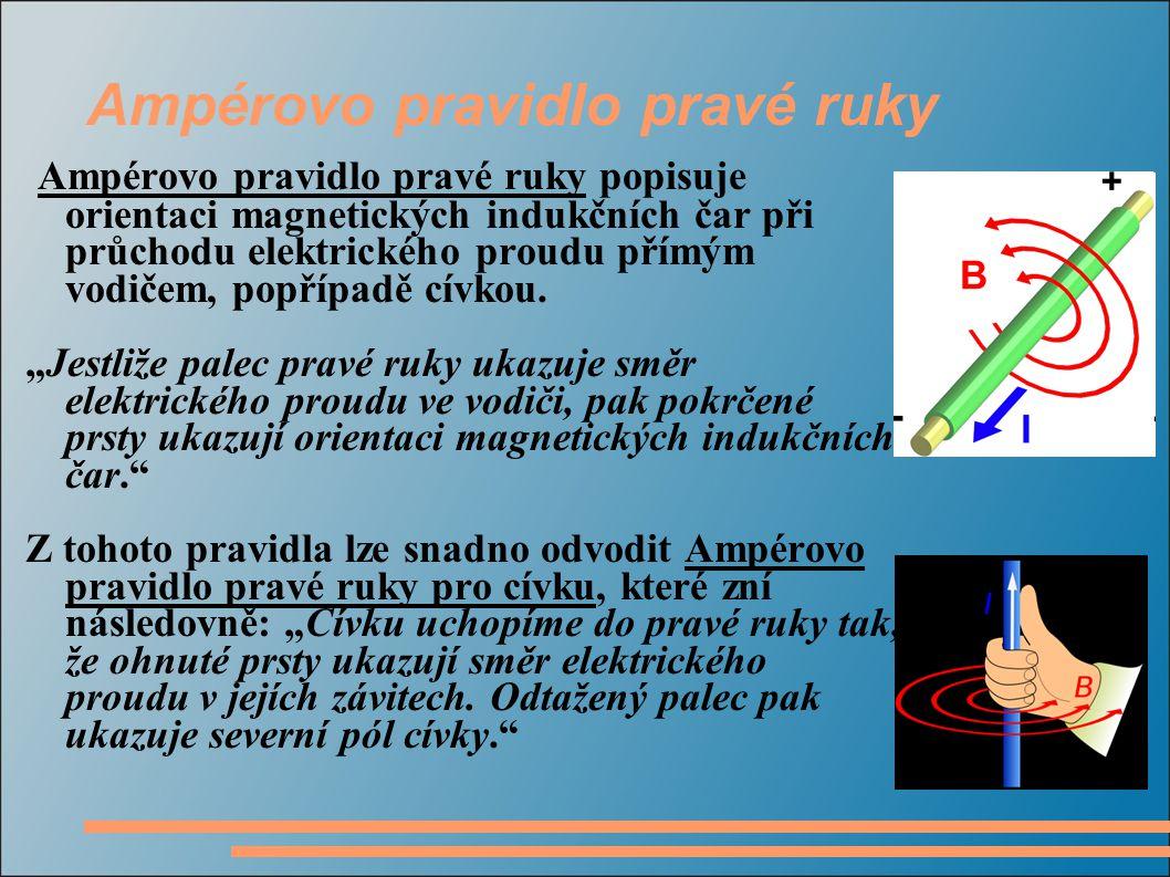 Ampérovo pravidlo pravé ruky Ampérovo pravidlo pravé ruky popisuje orientaci magnetických indukčních čar při průchodu elektrického proudu přímým vodičem, popřípadě cívkou.