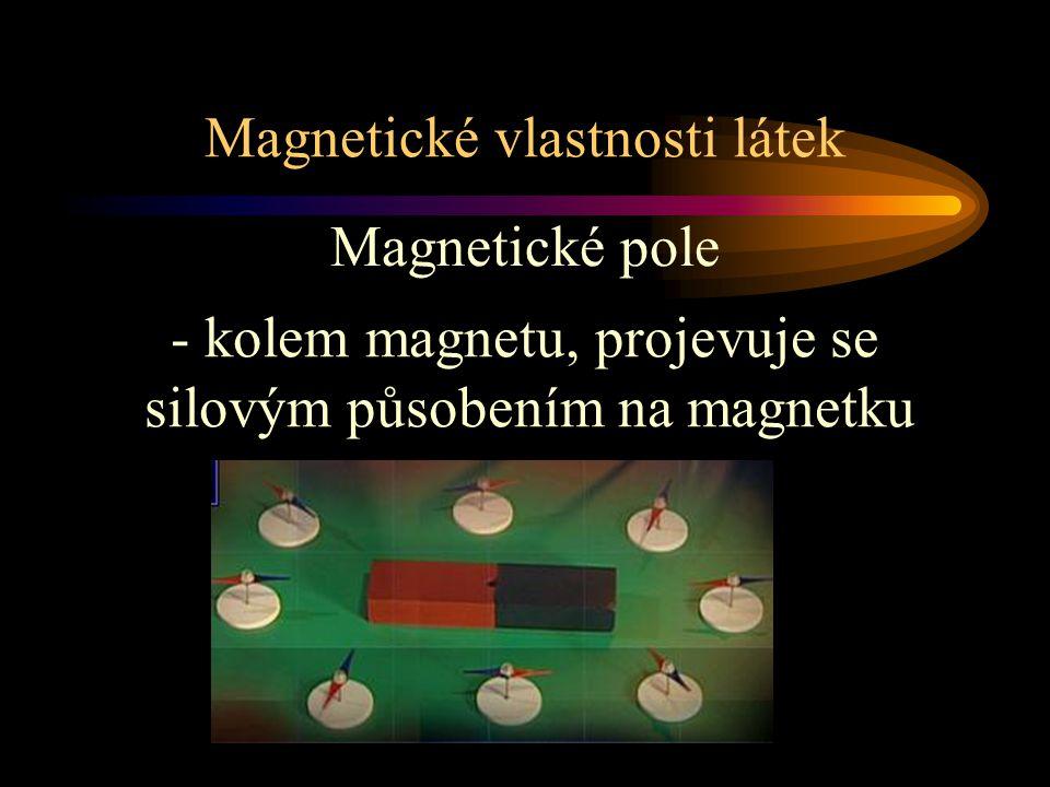 Magnetické vlastnosti látek Magnetické pole - kolem magnetu, projevuje se silovým působením na magnetku