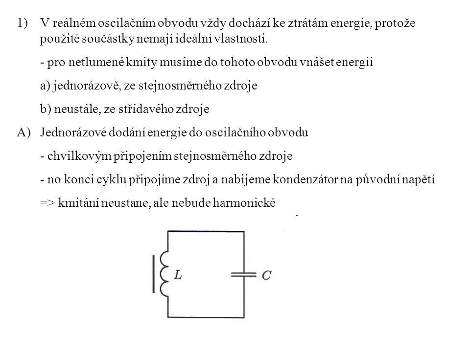 B) Připojení střídavého zdroje - záleží na frekvenci tohoto zdroje - jiná než vlastní frekvence oscilačního obvodu => nucené kmitání - stejná jako vlastní frekvence oscilačního obvodu => rezonance - nucené kmitání – netlumené ale nedosahuje maximální amplitudy => není harmonické - rezonance => harmonické kmitání a maximální amplituda kmitů Toto je jednoduché schéma oscilačního obvodu s generátorem střídavého napětí (k obvodu je také zapojen voltmetr, ten tam být nemusí).