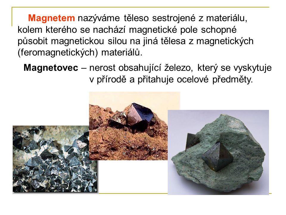 Magnetem nazýváme těleso sestrojené z materiálu, kolem kterého se nachází magnetické pole schopné působit magnetickou silou na jiná tělesa z magnetick