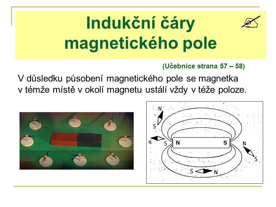 (Učebnice strana 57 – 58) Indukční čáry magnetického pole V důsledku působení magnetického pole se magnetka v témže místě v okolí magnetu ustálí vždy