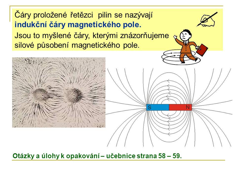 Jsou to myšlené čáry, kterými znázorňujeme silové působení magnetického pole. Čáry proložené řetězci pilin se nazývají indukční čáry magnetického pole