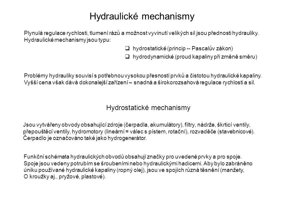 Hydraulické mechanismy Plynulá regulace rychlosti, tlumení rázů a možnost vyvinutí velikých sil jsou přednosti hydrauliky. Hydraulické mechanismy jsou