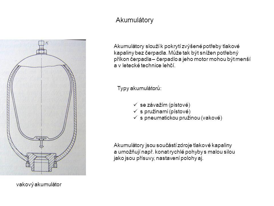 Akumulátory Akumulátory slouží k pokrytí zvýšené potřeby tlakové kapaliny bez čerpadla. Může tak být snížen potřebný příkon čerpadla – čerpadlo a jeho