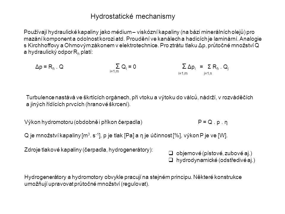 Hydrostatické mechanismy Používají hydraulické kapaliny jako médium – viskózní kapaliny (na bázi minerálních olejů) pro mazání komponent a odolnost ko