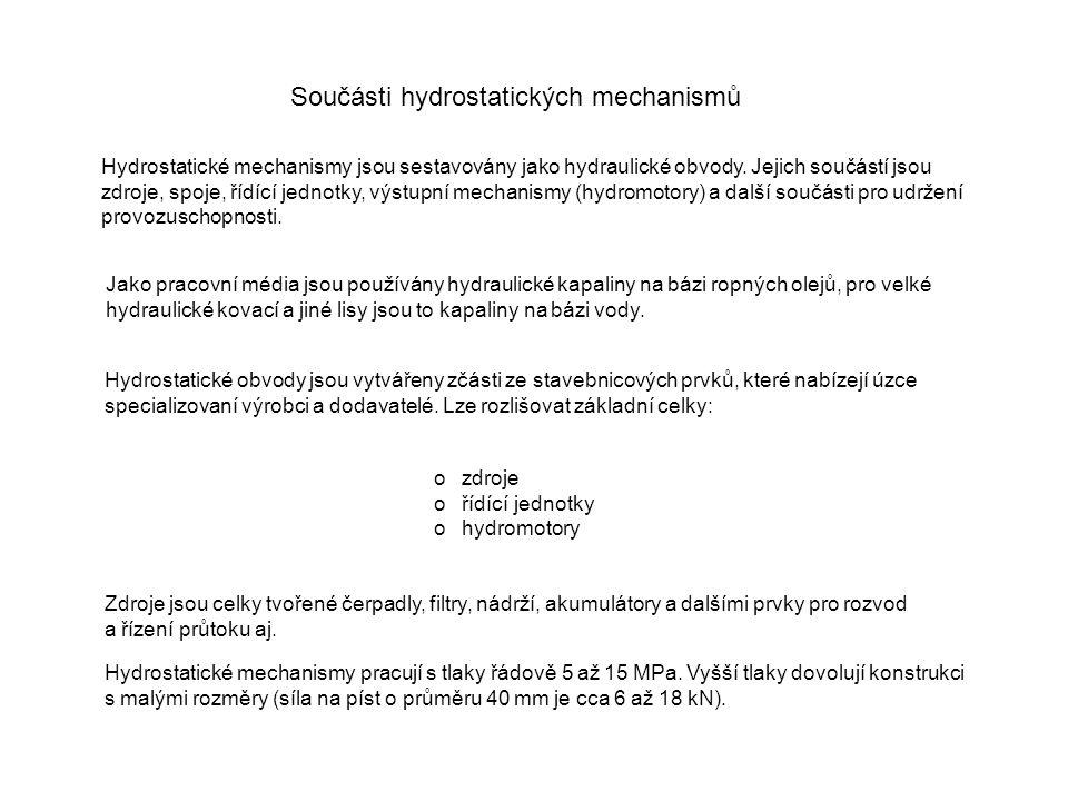 Součásti hydrostatických mechanismů Hydrostatické mechanismy jsou sestavovány jako hydraulické obvody. Jejich součástí jsou zdroje, spoje, řídící jedn