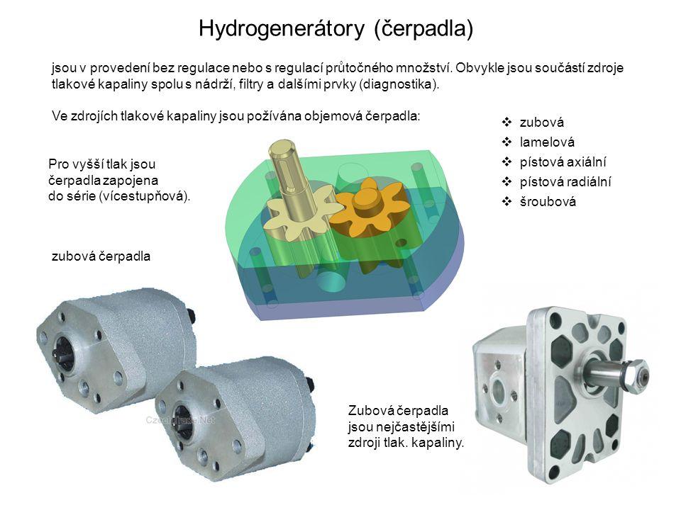 Hydrogenerátory (čerpadla) jsou v provedení bez regulace nebo s regulací průtočného množství. Obvykle jsou součástí zdroje tlakové kapaliny spolu s ná