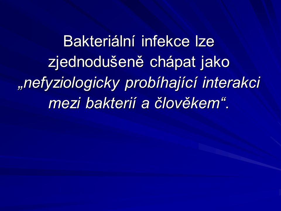 """Bakteriální infekce lze zjednodušeně chápat jako """"nefyziologicky probíhající interakci mezi bakterií a člověkem""""."""