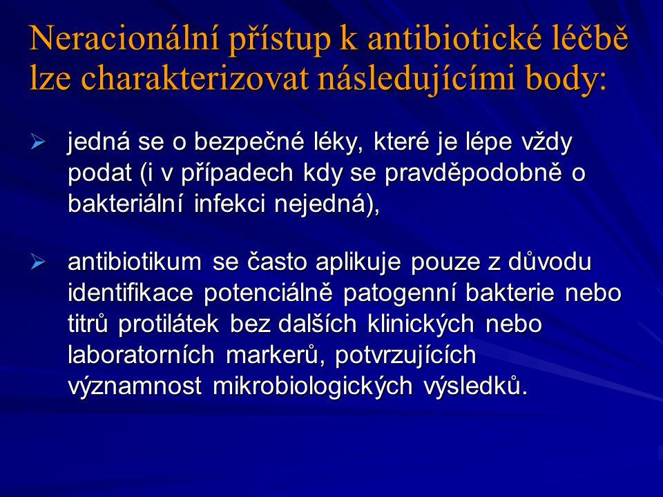 Neracionální přístup k antibiotické léčbě lze charakterizovat následujícími body:  jedná se o bezpečné léky, které je lépe vždy podat (i v případech