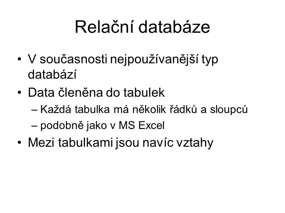 Relační databáze V současnosti nejpoužívanější typ databází Data členěna do tabulek –Každá tabulka má několik řádků a sloupců –podobně jako v MS Excel