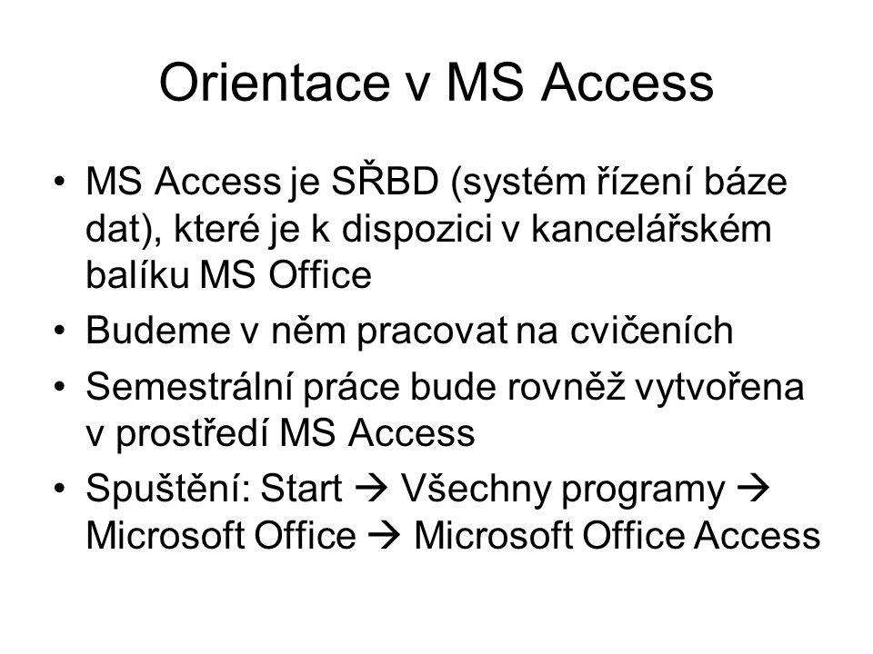 Orientace v MS Access MS Access je SŘBD (systém řízení báze dat), které je k dispozici v kancelářském balíku MS Office Budeme v něm pracovat na cvičen