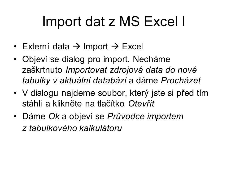 Import dat z MS Excel I Externí data  Import  Excel Objeví se dialog pro import. Necháme zaškrtnuto Importovat zdrojová data do nové tabulky v aktuá