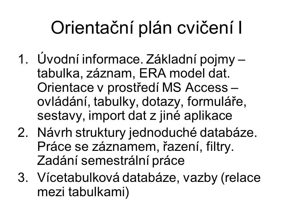 Orientační plán cvičení I 1.Úvodní informace. Základní pojmy – tabulka, záznam, ERA model dat. Orientace v prostředí MS Access – ovládání, tabulky, do