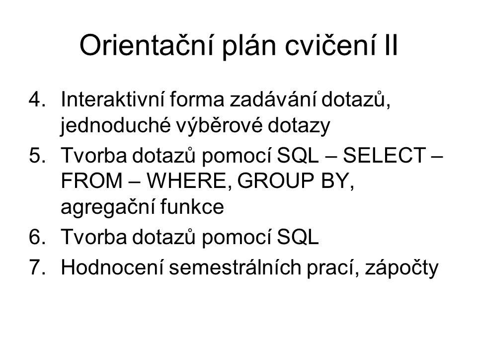 Orientační plán cvičení II 4. Interaktivní forma zadávání dotazů, jednoduché výběrové dotazy 5.Tvorba dotazů pomocí SQL – SELECT – FROM – WHERE, GROUP