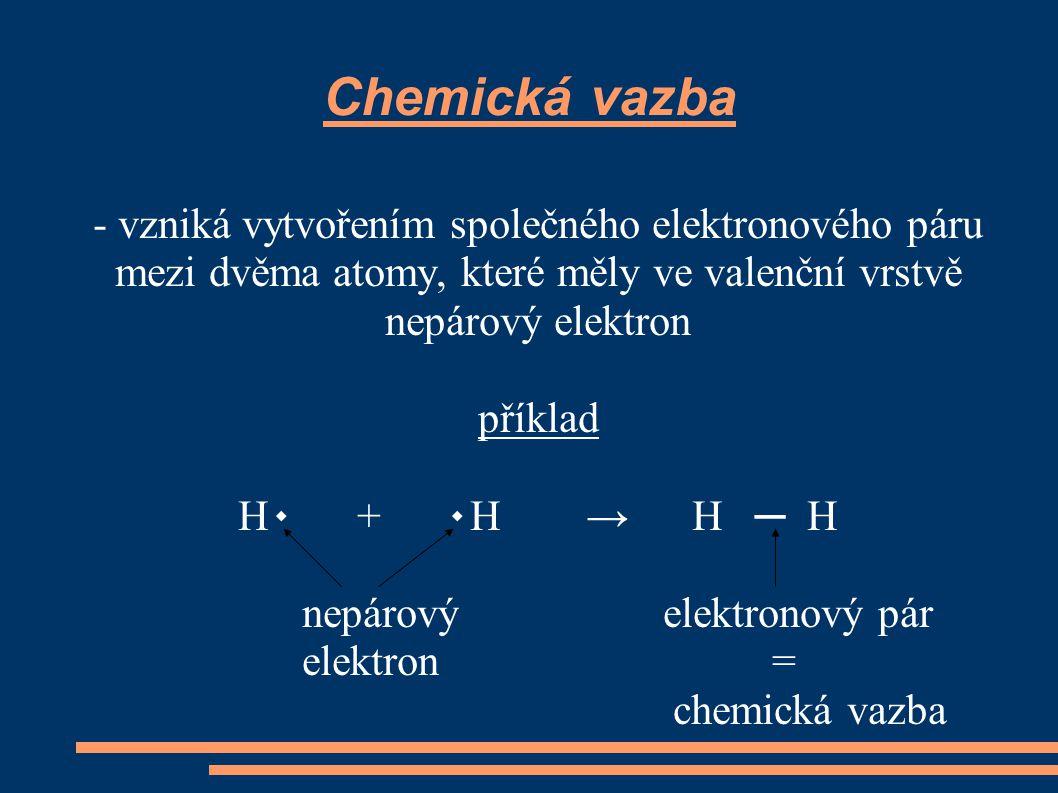 Eletronegativita - číselně vyjadřuje schopnost atomu přitahovat elektrony chemické vazby - její hodnotu lze najít v periodické tabulce prvků - značí se X - např.