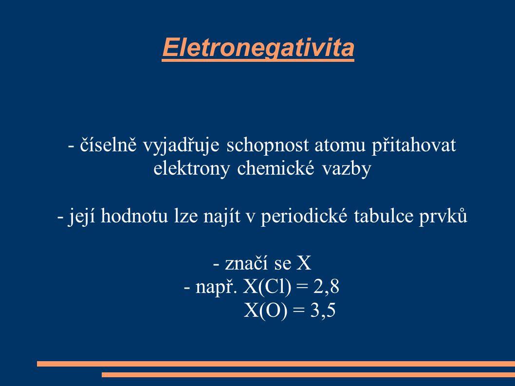 Nepolární vazba – rozdíl elektronegativit mezi vzájemně vázanými atomy je menší než 0,4 příklady H ― H X(H) = 2,1 2,1 - 2,1 = 0 H ― I X(H) = 2,1 X(I) = 2,2 2,2 – 2,1 = 0,1