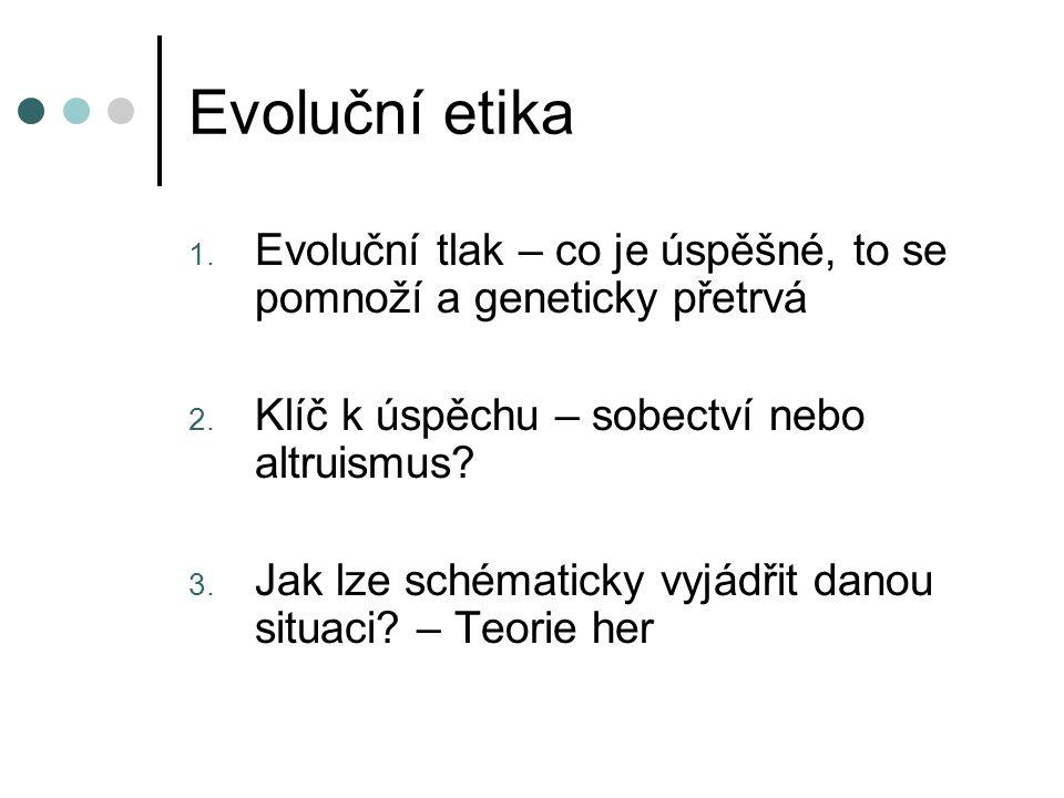 Evoluční etika 1. Evoluční tlak – co je úspěšné, to se pomnoží a geneticky přetrvá 2. Klíč k úspěchu – sobectví nebo altruismus? 3. Jak lze schématick