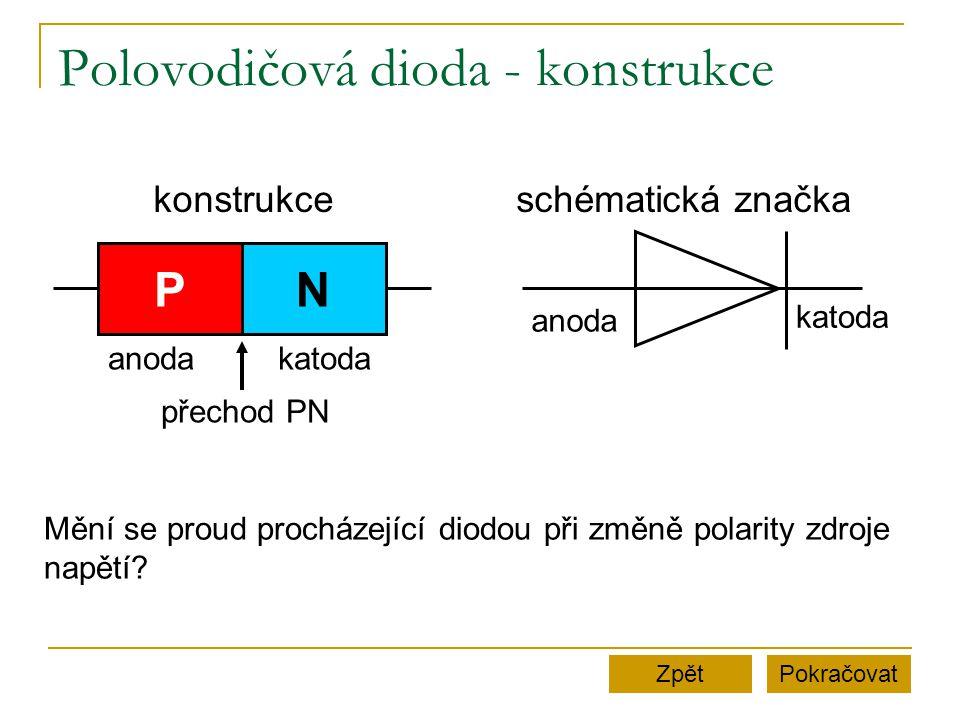 Polovodičová dioda - konstrukce PokračovatZpět PN konstrukceschématická značka anoda katoda anodakatoda přechod PN Mění se proud procházející diodou p