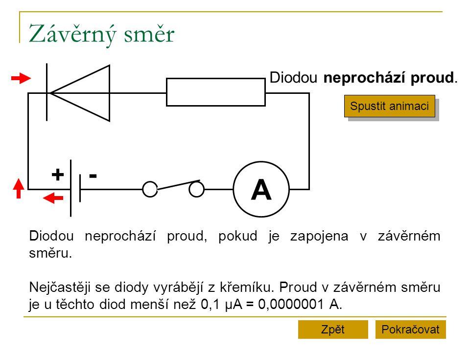 Závěrný směr PokračovatZpět A + - Diodou neprochází proud. Spustit animaci Diodou neprochází proud, pokud je zapojena v závěrném směru. Nejčastěji se