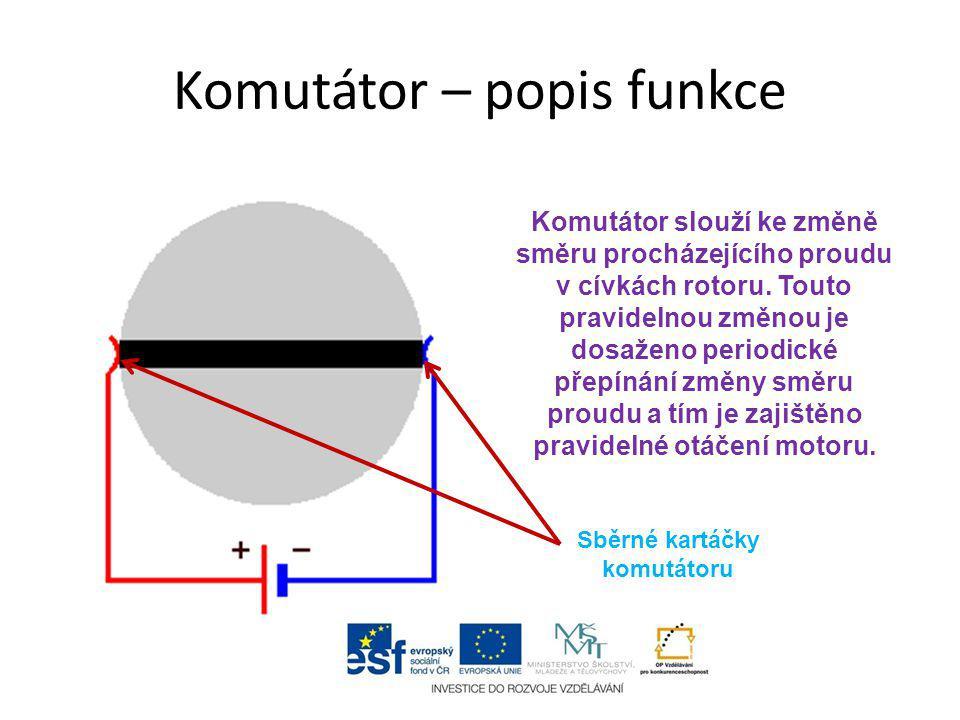 Komutátor – popis funkce Komutátor slouží ke změně směru procházejícího proudu v cívkách rotoru. Touto pravidelnou změnou je dosaženo periodické přepí
