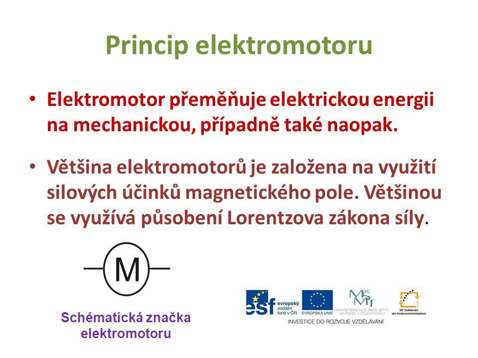 Princip elektromotoru Elektromotor přeměňuje elektrickou energii na mechanickou, případně také naopak. Většina elektromotorů je založena na využití si