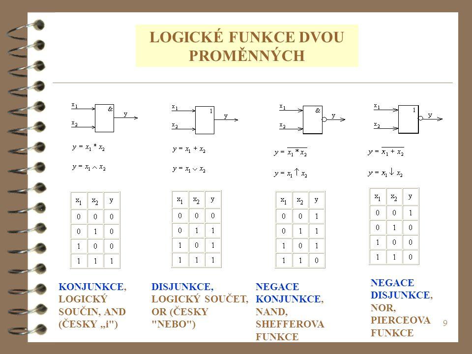 """9 LOGICKÉ FUNKCE DVOU PROMĚNNÝCH KONJUNKCE, LOGICKÝ SOUČIN, AND (ČESKY """"i"""
