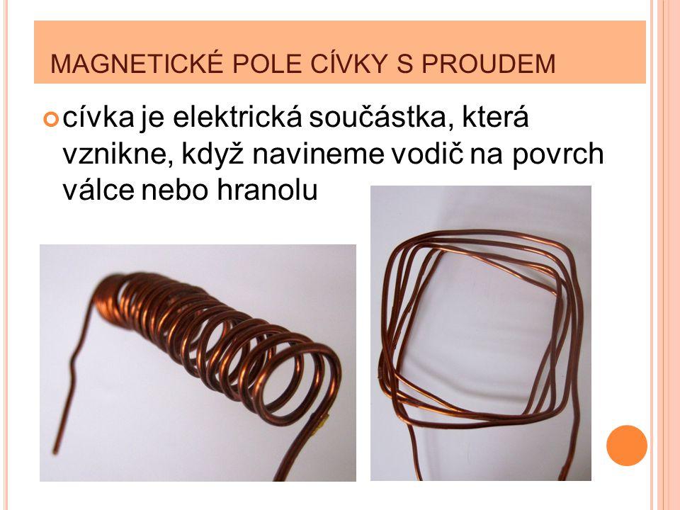 MAGNETICKÉ POLE CÍVKY S PROUDEM cívka je elektrická součástka, která vznikne, když navineme vodič na povrch válce nebo hranolu