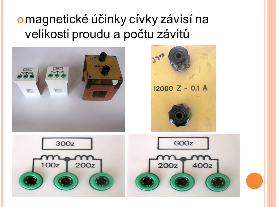 cívka, kterou prochází elektrický proud se chová jako dočasný magnet elektromagnet vznikne, když do cívky vložíme jádro ze železa při průchodu proudu cívkou dochází vlivem jejího magnetického pole ke zmagnetování jádra  stává se z něj dočasný magnet