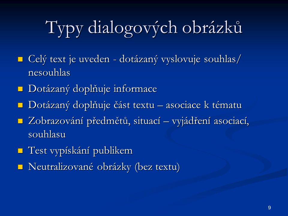 9 Typy dialogových obrázků Celý text je uveden - dotázaný vyslovuje souhlas/ nesouhlas Celý text je uveden - dotázaný vyslovuje souhlas/ nesouhlas Dot