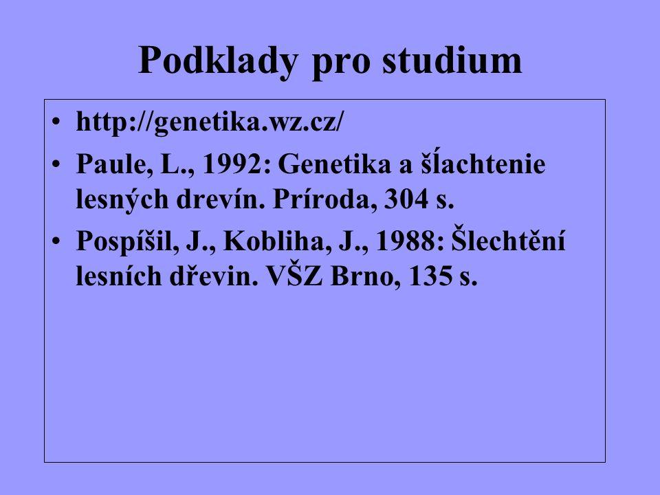 Podklady pro studium http://genetika.wz.cz/ Paule, L., 1992: Genetika a šĺachtenie lesných drevín. Príroda, 304 s. Pospíšil, J., Kobliha, J., 1988: Šl
