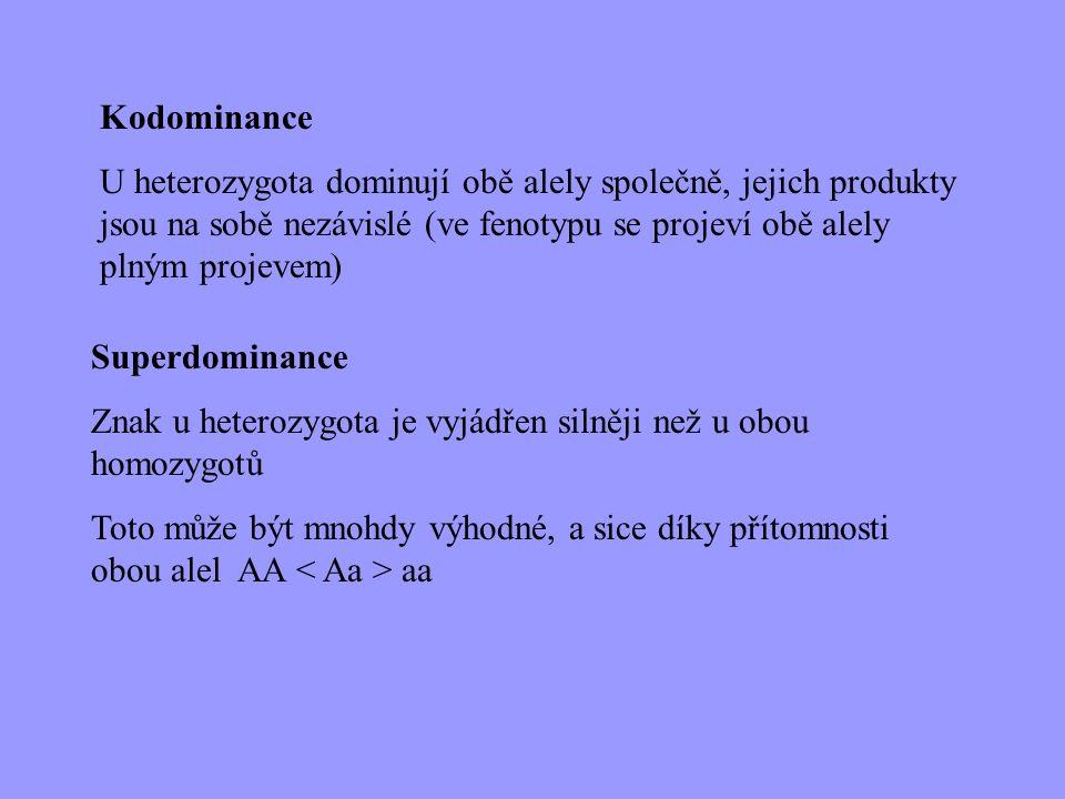 Superdominance Znak u heterozygota je vyjádřen silněji než u obou homozygotů Toto může být mnohdy výhodné, a sice díky přítomnosti obou alel AA aa Kod