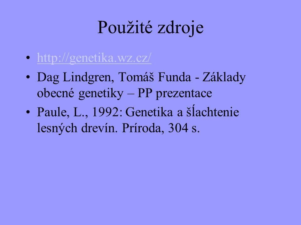 Použité zdroje http://genetika.wz.cz/ Dag Lindgren, Tomáš Funda - Základy obecné genetiky – PP prezentace Paule, L., 1992: Genetika a šĺachtenie lesný