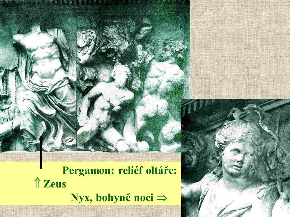 Pergamon: reliéf oltáře:  Zeus Nyx, bohyně noci 