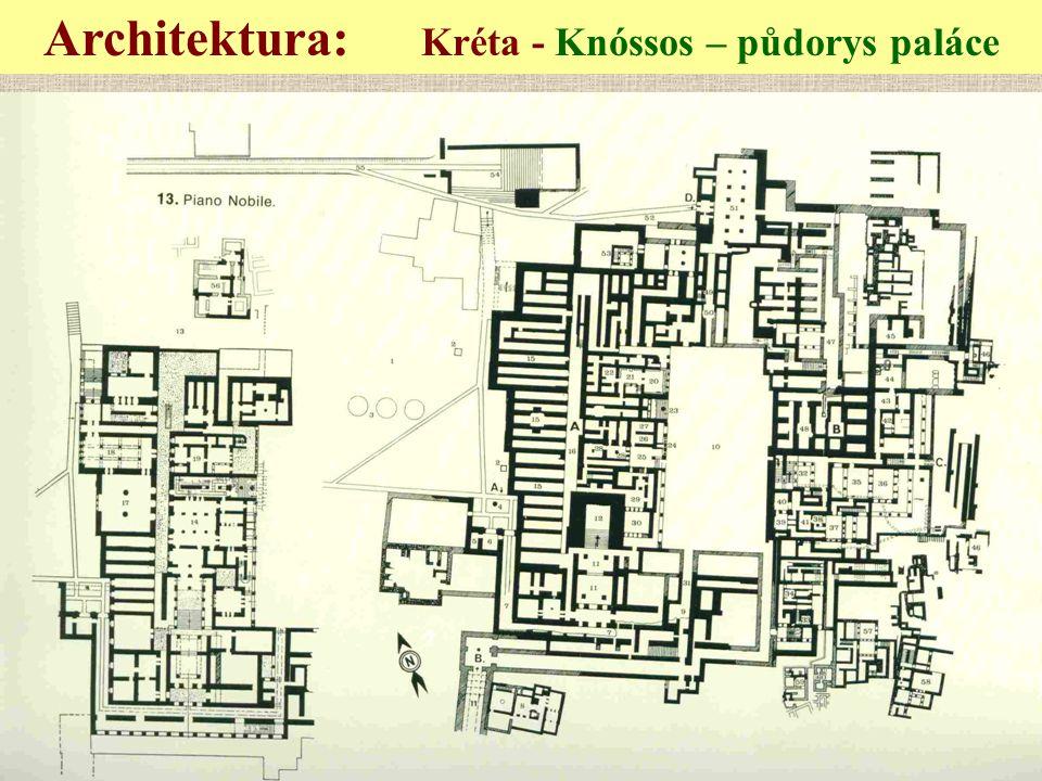 Architektura: Kréta - Knóssos – půdorys paláce