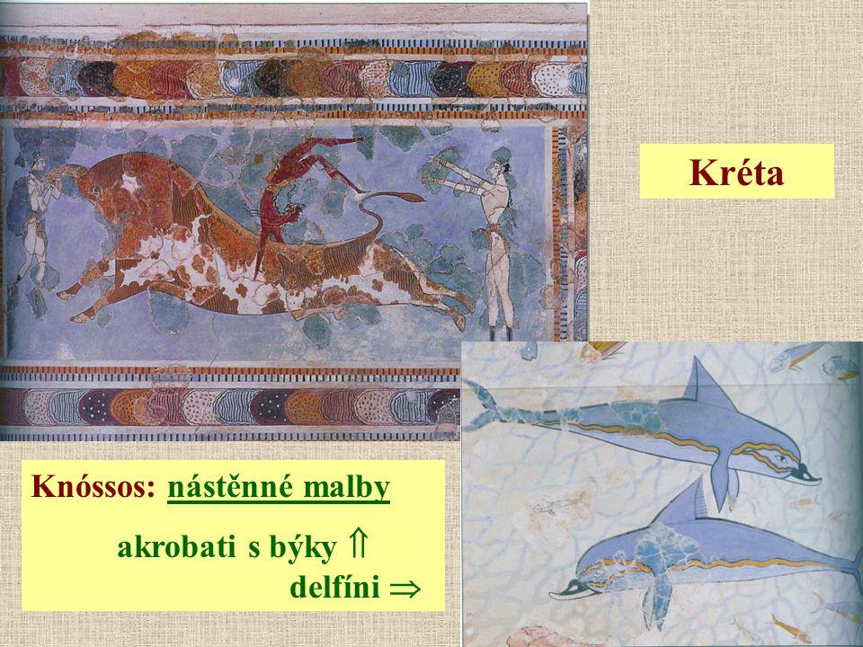 Knóssos: nástěnné malby akrobati s býky  delfíni  Kréta
