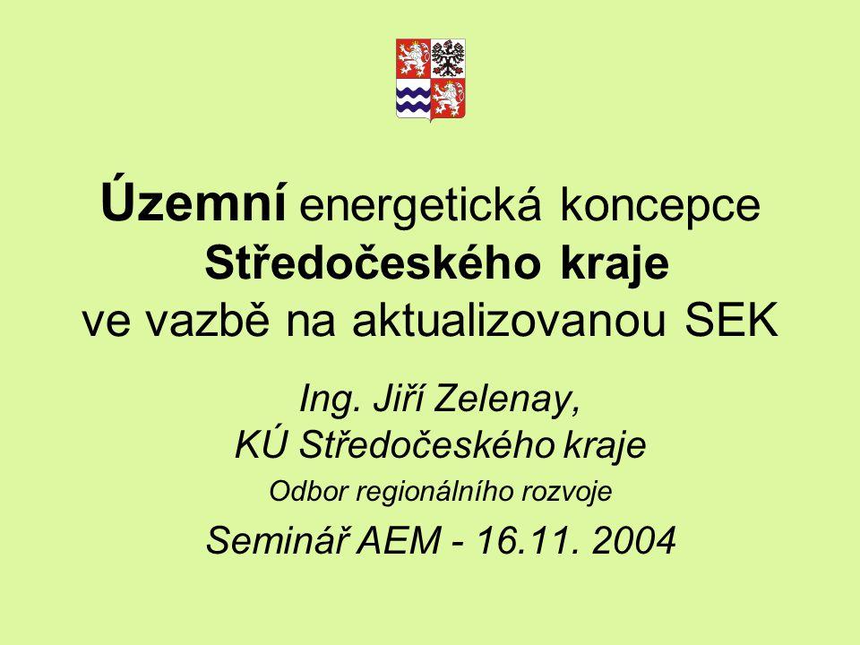 Územní energetická koncepce Středočeského kraje ve vazbě na aktualizovanou SEK Ing. Jiří Zelenay, KÚ Středočeského kraje Odbor regionálního rozvoje Se
