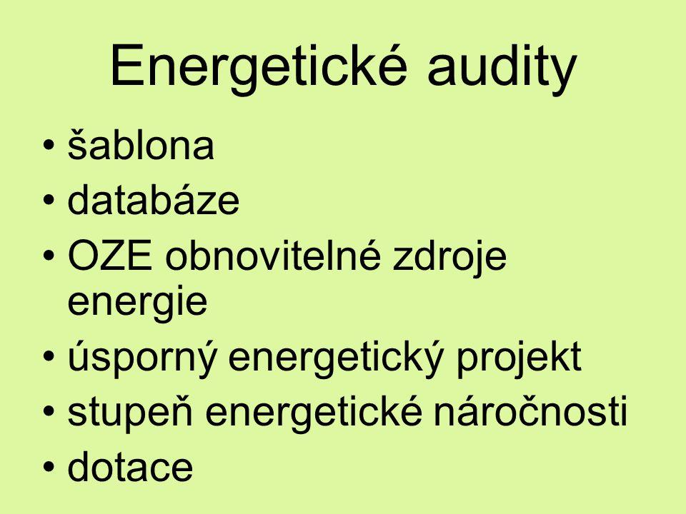 Energetické audity šablona databáze OZE obnovitelné zdroje energie úsporný energetický projekt stupeň energetické náročnosti dotace