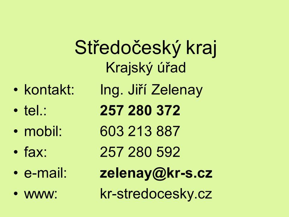Středočeský kraj Krajský úřad kontakt: Ing. Jiří Zelenay tel.: 257 280 372 mobil:603 213 887 fax:257 280 592 e-mail:zelenay@kr-s.cz www:kr-stredocesky
