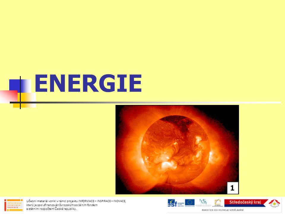 ENERGIE lidé ji získávají z potravy umožňuje nám vyvinout sílu a konat práci Učební materiál vznikl v rámci projektu INFORMACE – INSPIRACE – INOVACE, který je spolufinancován Evropským sociálním fondem a státním rozpočtem České republiky.