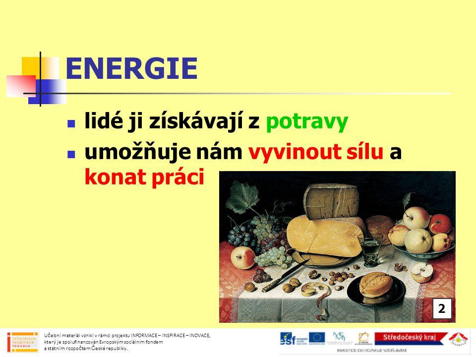 DRUHY ENERGIE energie MECHANICKÁ působení jednoho tělesa na jiné polohová, pohybová, elastická energie TEPELNÁ sluneční teplo, teplo vznikající při hoření nebo svícení Učební materiál vznikl v rámci projektu INFORMACE – INSPIRACE – INOVACE, který je spolufinancován Evropským sociálním fondem a státním rozpočtem České republiky.