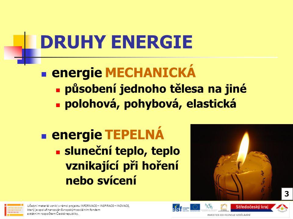 DRUHY ENERGIE energie SVĚTELNÁ sluneční světlo, světlo žárovky nebo ohně energie ZVUKOVÁ zvuk řeči, hudební nástroje, mikrofon Učební materiál vznikl v rámci projektu INFORMACE – INSPIRACE – INOVACE, který je spolufinancován Evropským sociálním fondem a státním rozpočtem České republiky.