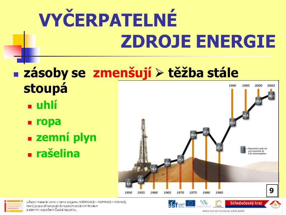 NEVYČERPATELNÉ ZDROJE ENERGIE zdroje stále se obnovující sluneční záření, větrné energie, vodní energie, energie přílivu Učební materiál vznikl v rámci projektu INFORMACE – INSPIRACE – INOVACE, který je spolufinancován Evropským sociálním fondem a státním rozpočtem České republiky.