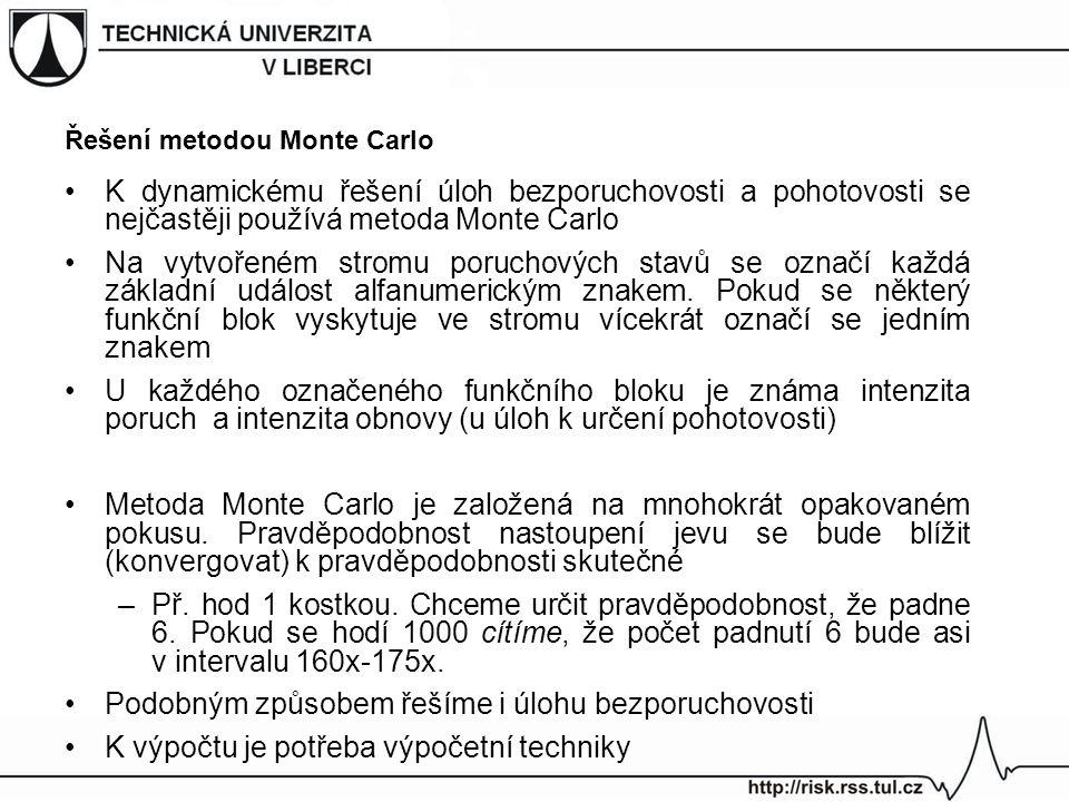 Řešení metodou Monte Carlo K dynamickému řešení úloh bezporuchovosti a pohotovosti se nejčastěji používá metoda Monte Carlo Na vytvořeném stromu poruc