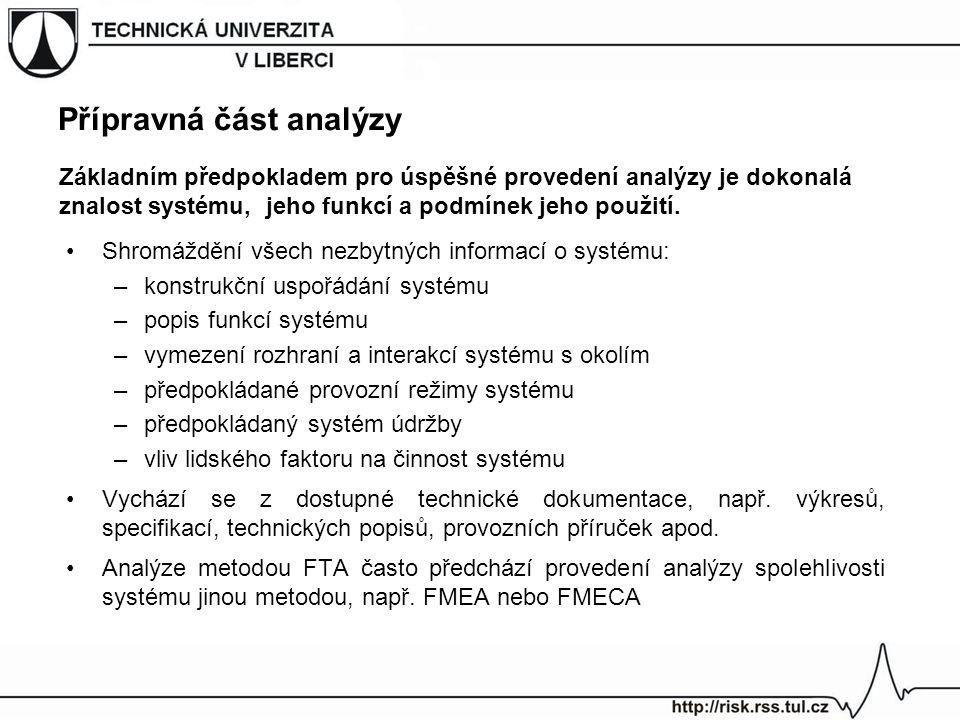 Přípravná část analýzy Shromáždění všech nezbytných informací o systému: –konstrukční uspořádání systému –popis funkcí systému –vymezení rozhraní a in