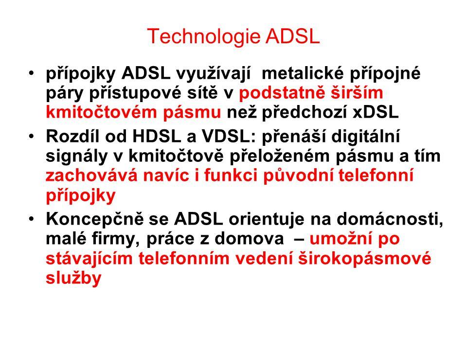 Technologie ADSL přípojky ADSL využívají metalické přípojné páry přístupové sítě v podstatně širším kmitočtovém pásmu než předchozí xDSL Rozdíl od HDS