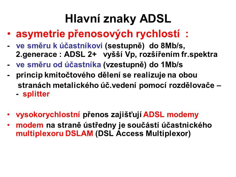 Hlavní znaky ADSL asymetrie přenosových rychlostí : - ve směru k účastníkovi (sestupně) do 8Mb/s, 2.generace : ADSL 2+ vyšší Vp, rozšířením fr.spektra