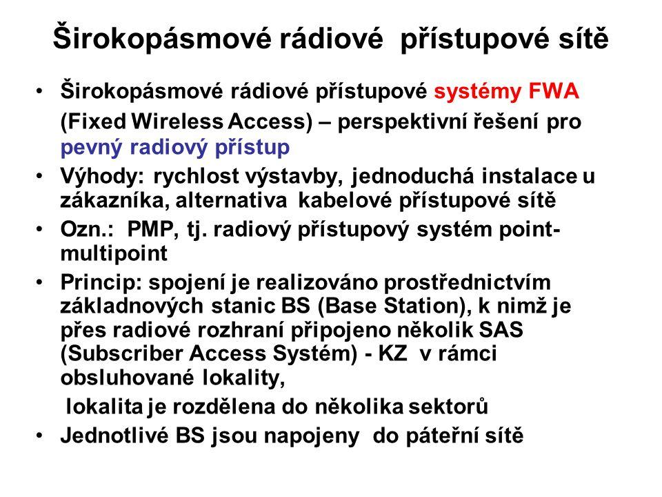 Širokopásmové rádiové přístupové sítě Širokopásmové rádiové přístupové systémy FWA (Fixed Wireless Access) – perspektivní řešení pro pevný radiový pří