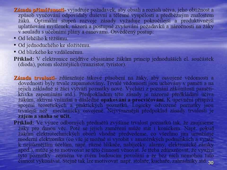 30 Zásada přiměřenosti- Zásada přiměřenosti- vyjadřuje požadavek, aby obsah a rozsah učiva, jeho obtížnost a způsob vyučování odpovídaly duševní a těl