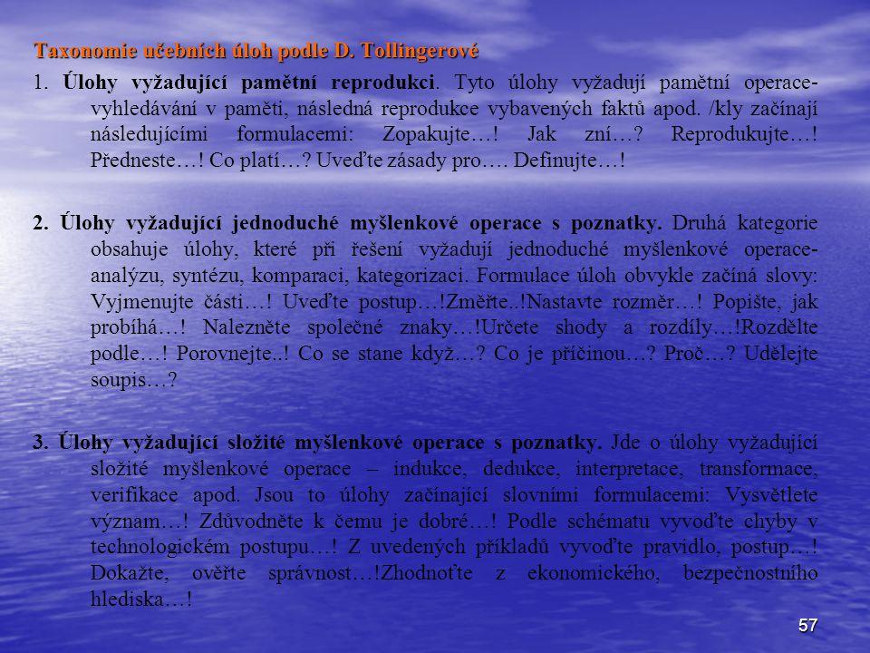 57 Taxonomie učebních úloh podle D. Tollingerové 1. Úlohy vyžadující pamětní reprodukci. Tyto úlohy vyžadují pamětní operace- vyhledávání v paměti, ná
