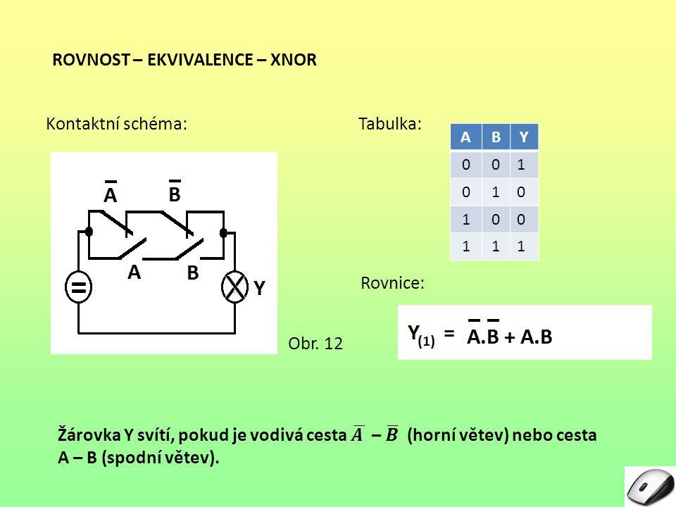 ROVNOST – EKVIVALENCE – XNOR Rovnice: Tabulka: ABY 001 010 100 111 Kontaktní schéma: Obr. 12